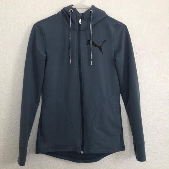 ebcc5e8efc50 Puma Sweaters - Puma zip up dusty blue zip up hoodie w pockets XS